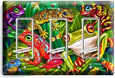 EXOTIC RAINFOREST TROPICAL TREE FROGS TRIPLE GFCI LIGHT SWITCH WALL PLATE COVER