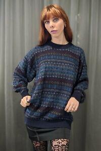 Mens Vintage Pure 100% Baby Alpaca Soft Warm Wool Patterned Jumper Sweater L