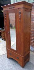 Victorian antique Arts & Crafts solid oak mirror door single wardrobe armoire