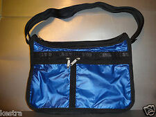 Lesportsac Deluxe Everyday Bag Cobalt Lightning Crossbody Purse Solid Blue New