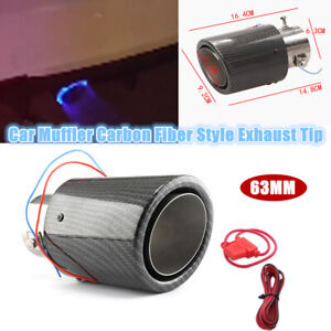 63MM Inlet Car Steel Muffler Carbon Fiber Style Exhaust Tip With Blue LED Light