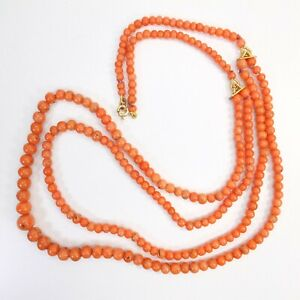 Rare Antique 9ct Gold Coral Bead Necklace Double String Round Salmon Coral Beads