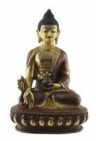 Estatua Tibetano Buda de La Medicina 14cm Cobre Y Oro Nepal Buda 26665