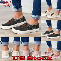 Womens Casual Sneakers Flat Slip-On Elestic Canvas Trainers Pumps Shoes Sizes