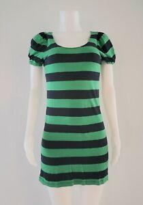 Libertine For Target Dress Sz Small  Green Blue Striped Puff Sleeves Short