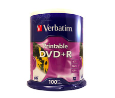 100-pk Verbatim White Inkjet Printable DVD+R - Non-Hub 16x 4.7GB 120 mins #95145
