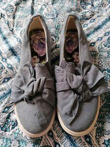 Ladies flat shoes - Marks & Spencer - denim colour - bow - size 8