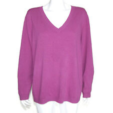BODEN CASHMERE WOMENS SIZE 18 Purple Scoop V-Neck Sweater (Fixer-Up) - 3198