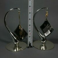 "(2) Christopher Radko 6.5"" Ornament Stands Silver Hand Blown Glass 02-6912-0-0"
