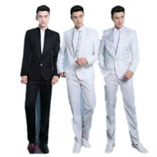 Fashion Mens Sequins Prints V-neck Wedding Tuxedos Blazers Suit Jacket Pants