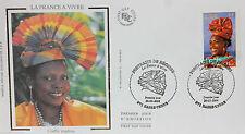 ENVELOPPE PREMIER JOUR - 9 x 16,5 cm - ANNEE 2004 - COIFFE MADRAS