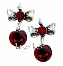 Goth : Alchemy Boucle d' Oreille Cerise & Tête de Mort Black Cherry Gothique