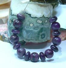 NATURAL UNTREATED AFRICAN PURPLE SUGILITE RONDELLE ROUND BEADS 15pc SET STRAND