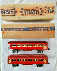 Lionel 1685, 1687 Tinplate Two Tone Red Passenger Cars w/ Lionel Original Boxes