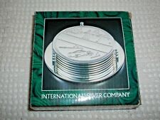 NEW OLD STOCK~INTERNATIONAL SILVER CO. SILVER PLATE GOLF DESIGN 7 PC COASTER SET
