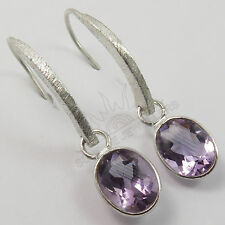 925 Solid Sterling Silver Natural AMETHYST Oval Gemstone New Hot Design Earrings