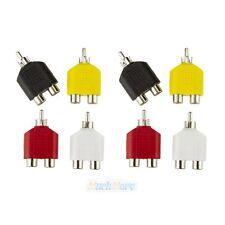 8x RCA Y Splitter AV Audio Video Plug Converter 1-Male to 2-Female Cable Adapter
