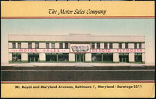 BALTIMORE MD Motor Sales Company DeSoto Plymouth Car Vtg Mt Royal Postcard Old