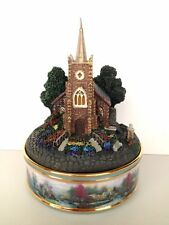 "Thomas Kinkade ""Windermer Church"" Porcelain Illuminated Music Box 2002 Retired"