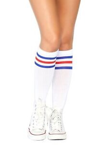 Red and Blue Striped Athletic Socks Women
