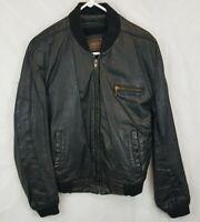 Vtg Cooper Black Leather Jacket w Liner Mens M L 42 Motorcycle Cafe Bomber USA