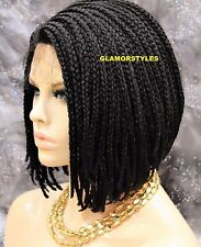 """16"""" Bob Dark Brown With Baby Hair Box Braided Full Lace Front Wig Hair Piece #2"""