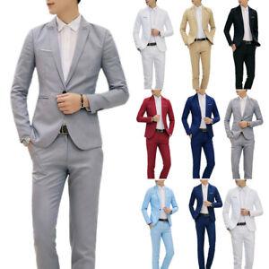 Herren Slim Fit Blazer Anzug Set Hochzeit Comfy Mantel Hose Business Arbeit Neu