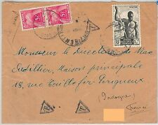 FISHING Afrique équatoriale française -  POSTAL HISTORY - COVER to FRANCE: TAXED