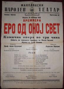 1953 Original Poster Macedonia National Theatre Skopje Opera Ero the Joker
