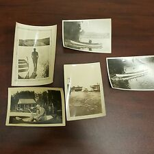Lot of 5 Vintage B&W Variety Photos of Men with Boats On Water Scenes