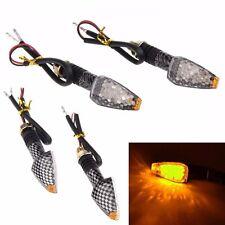 2Pcs Motorcycle Motorbike Carbon LED Turn Signal Indicators Blinker Amber Light