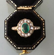 Women's 9ct Rose Gold Green Stone Ring with CZ Stones Size P W1.97g Stamped
