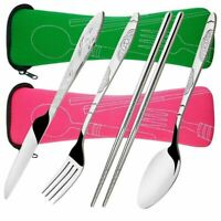 4pcs Stainless Steel Fork Spoon Portable Travel Camping Picnic Cutlery Set Hot