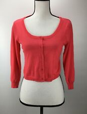 BP. Women's Cropped Cardigan Jr Size S Small Long Sleeve Cotton Pink J1991