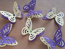 24x 3D paper butterflies Wedding Party table decorations yellow and purple