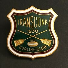 New listing VINTAGE CURLING PIN TRANSCONA 1938 CURLING CLUB (Birks missing screw on back)