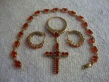 14K YG Mexican Fire Opal Hoop Earrings Diamond Cross Pendant Ring 7 Bracelet Lot
