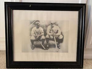Babe Ruth & Lou Gehrig Framed Print Pencil Sketch By Allen Friedlander