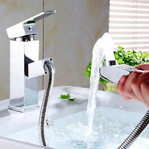 Ausziehbar Waschtischarmatur Wasserhahn Waschbecken Badarmatur Chrom mit Brause