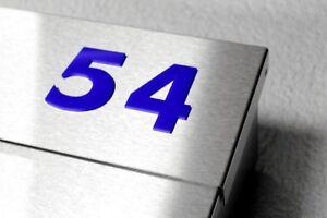 Hausnummer Briefkasten Haustür Sprechanlage blau 100 mm hoch 0-9 a b c d e f g h