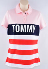 TOMMY HILFIGER Women's Polo Shirt, Pink with Stripes, size M
