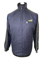 Puma Japan Japanese Retro Vintage Blue Sports Jacket Coat Windbreaker Small RARE