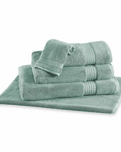 FRETTE Elisa Border 3 piece set Seaglass Bath sheet hand towel wash cloth NEW