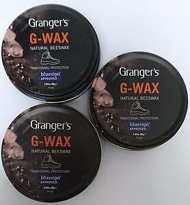 3x Grangers Fabsil G Wax Natural Beeswax Leather Boot/Shoe Polish Dubbin Tin