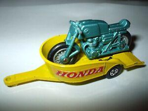 Matchbox Lesney Superfast #38 Honda Motorcycle & Trailer green & yellow VNMINT!