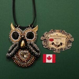 swarovski necklace wicca talisman owl pendant rare ancien amulet charm art jewel