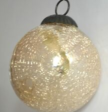 Antique Heavy Crackle Kugel Glass White Globe Christmas Ornament