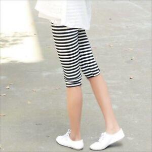Stripped-Black&White Woman leggings 3/4 Length Mid Rise