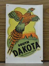 ORIGINAL VINTAGE TRAVEL DECAL SOUTH DAKOTA PHEASANT HUNTING BIRD AUTO OLD TRUCK