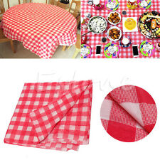 Disposable Red Gingham Tablecloth Check Oil Cloth Yardage Picnic Wedding Party